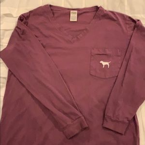 Purple v neck long sleeve tee